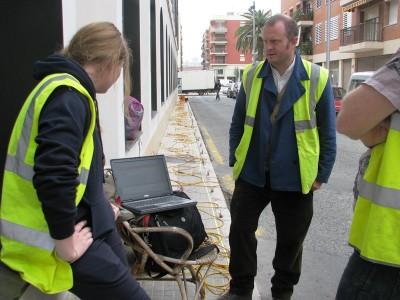 Prova de tomografia al carrer del Vapor.