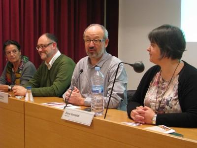 D'esquerra a dreta, Joana Zaragoza (URV), Jesús Carruesco (URV-ICAC), Joan Gómez Pallarès (director de l'ICAC) i Diana Gorostidi (URV-ICAC).