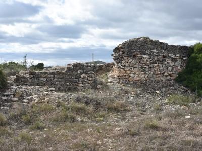 """Detall d'un segment de la muralla visigòtica de l'enclau de València """"la Vella""""."""