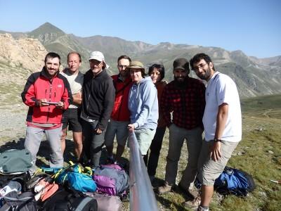 L'equip al coll dels Tres Pics.