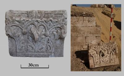 Capitell corintitzant que emmarcava la porta més oriental de la paret nord de la basílica.