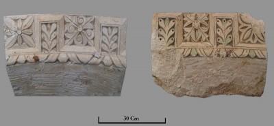 Dues peces d'arcuació que probablement decoraven els arcs sobre les columnes de la nau.