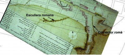 Plànol de Juan de Santacruz de l'any 1780 on encara hi ha l'escullera romana.