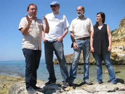 D'esquerra a dreta, Gerard Martí, Joan Gómez Pallarès, Jordi López i Anna Gutiérrez, durant la roda de premsa avui.