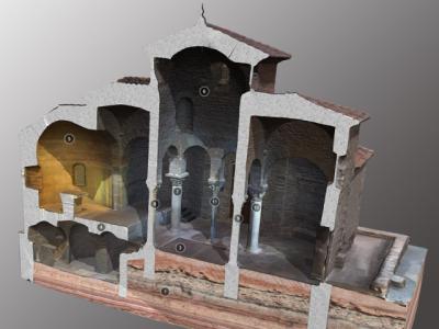 Secció longitudinal de l'església de Sant Miquel i de la cripta inferior.