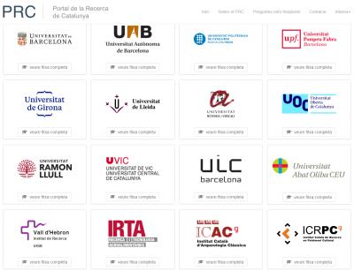 Institucions participants al Portal de la Recerca.