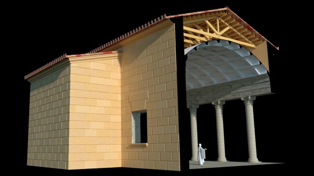 Restitució virtual de l'espai actual del Museu bíblic en època romana amb els pòrtics i l'exedra del recinte de culte imperial (Imatge de Silvia Fibla).