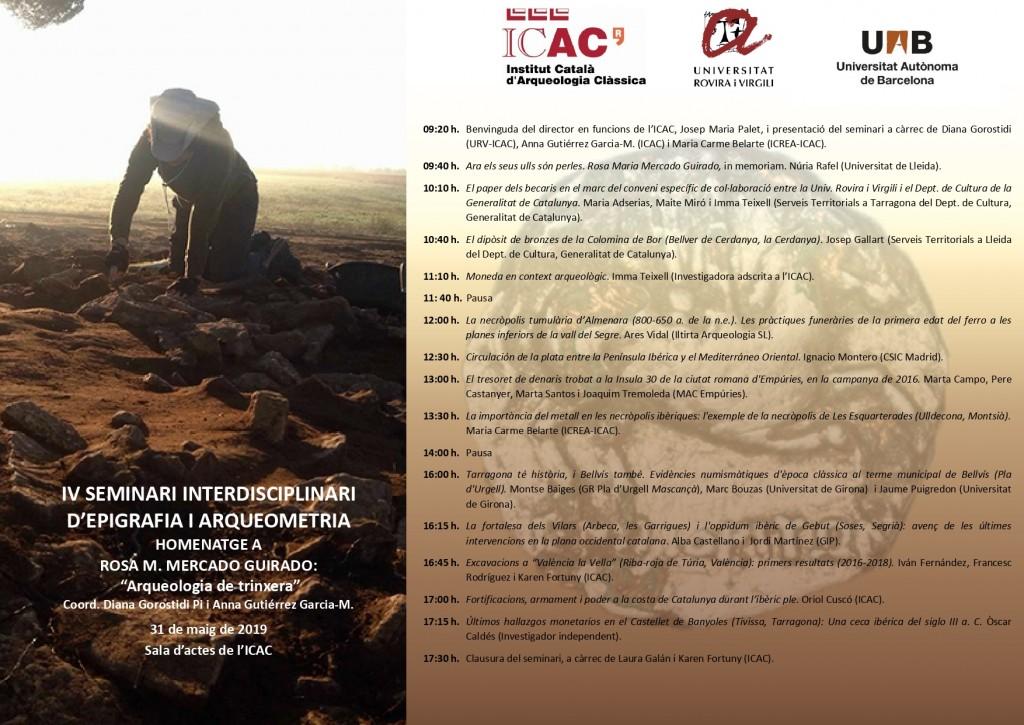 IV Seminari Epigrafia Arqueometria Homenatge Rosa Mercado_ICAC 2019