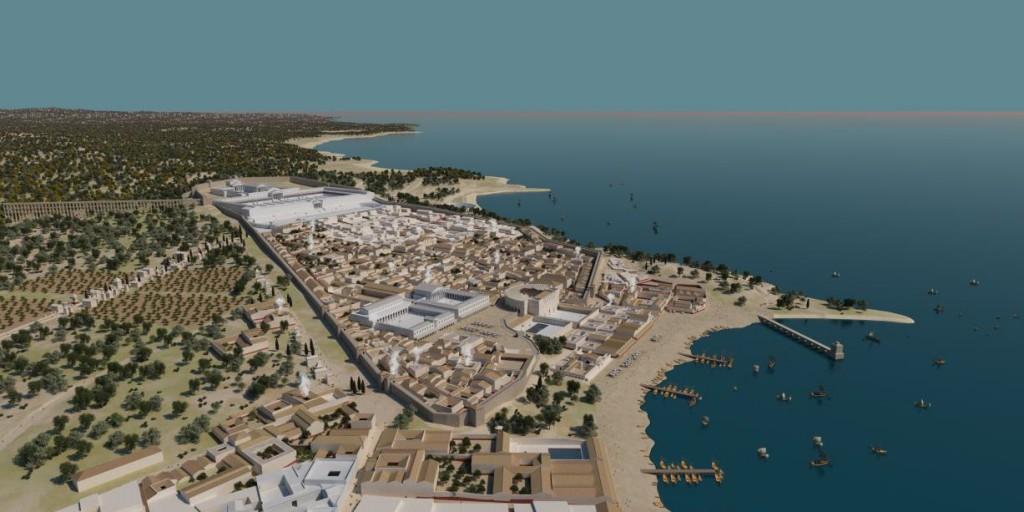 Recreació virtual i en color de la ciutat de Tarraco (fase treball). Imatge: SETOPANT (URV-ICAC)