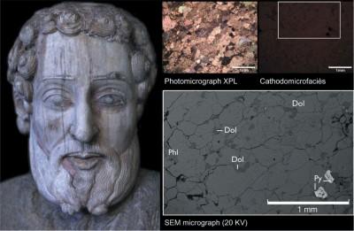 Cap de l'apòstol Sant Andreu en marbre: vista general després de la restauració (esquerra) i microfotografies de l'observació per microscòpia (imatge: Marie-Claire Savin, IRAMAT-CRP2A)