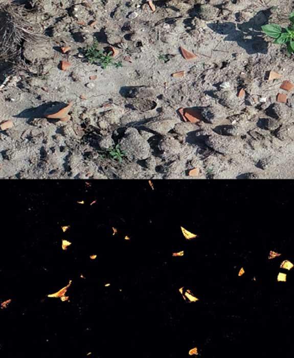 Imatge superior que mostra una imatge captada per drons. Imatge inferior que mostra les peces detectades per l'algorisme d'aprenentatge automàtic (Arnau Garcia-Molsosa i Hector A. Orengo)