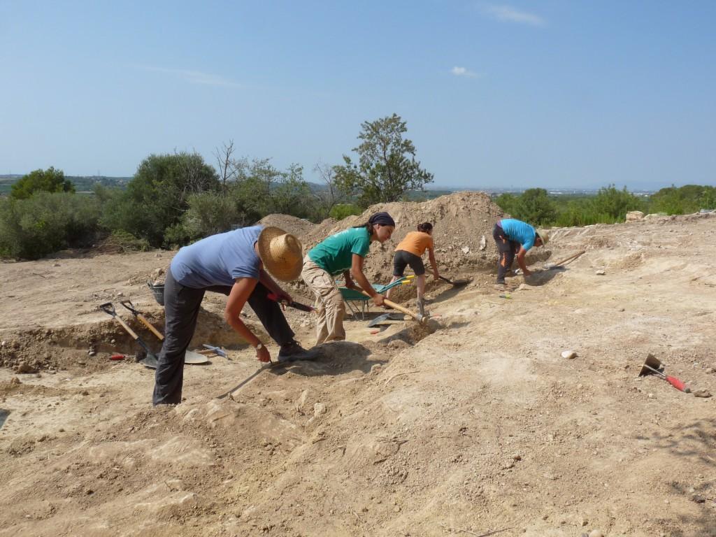 Costa de la Serra, campanya 2019. Voluntaris delimitant el nou mur ubicat paral·lelament al llenç sud de la muralla (© ICAC).