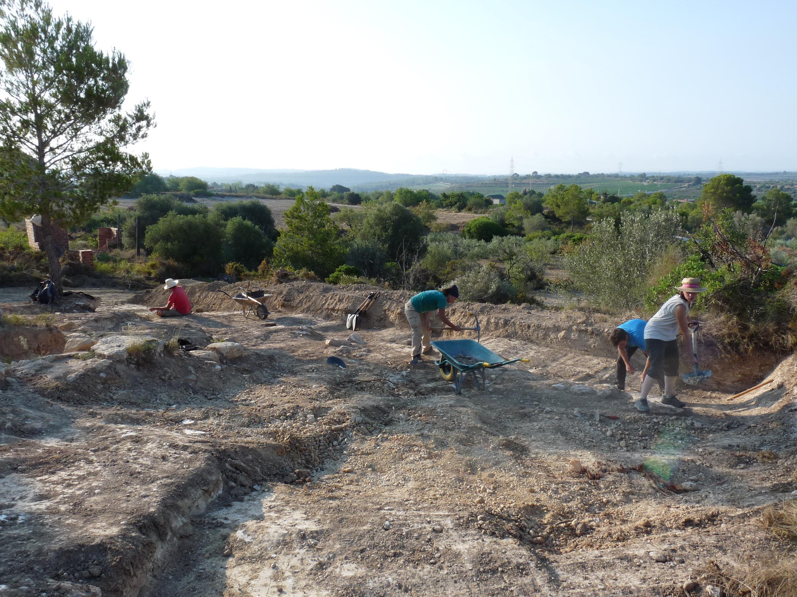 Costa de la Serra, campanya 2019. Membres de l'equip treballant en l'extrem est de la muralla, a l'entorn de la torre sud-est del fortí (© ICAC).