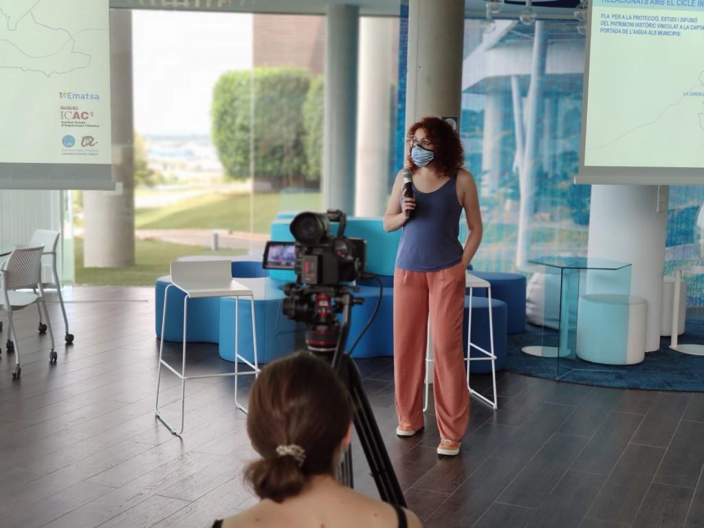 Anna Ferré (ETSA) en un moment de la seva presentació. Foto: © ICAC