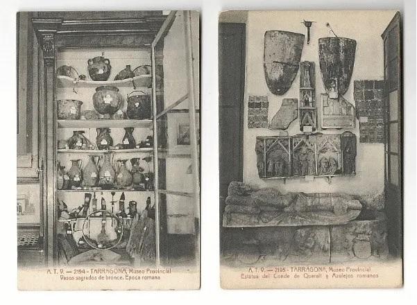 Del museu inicial no es conserven fotografies, però aquestes  postals de principis del segle XX mostren peces de la col·lecció. Foto: RSAT.