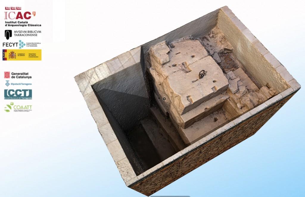 Model 3D de la fonamentació del mur del recinte de culte imperial. Foto: ICAC.