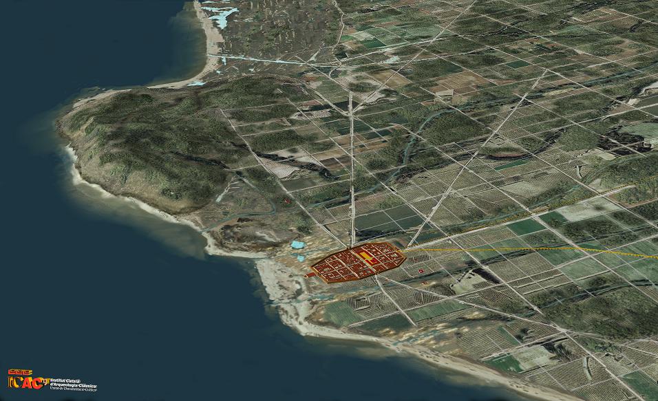 Reconstrucció fotogràfica de Montjuïc i el seu entorn als segles I-II dC. En groc veiem les traces documentades per l'estudi arqueomorfològic. Imatge: ICAC.