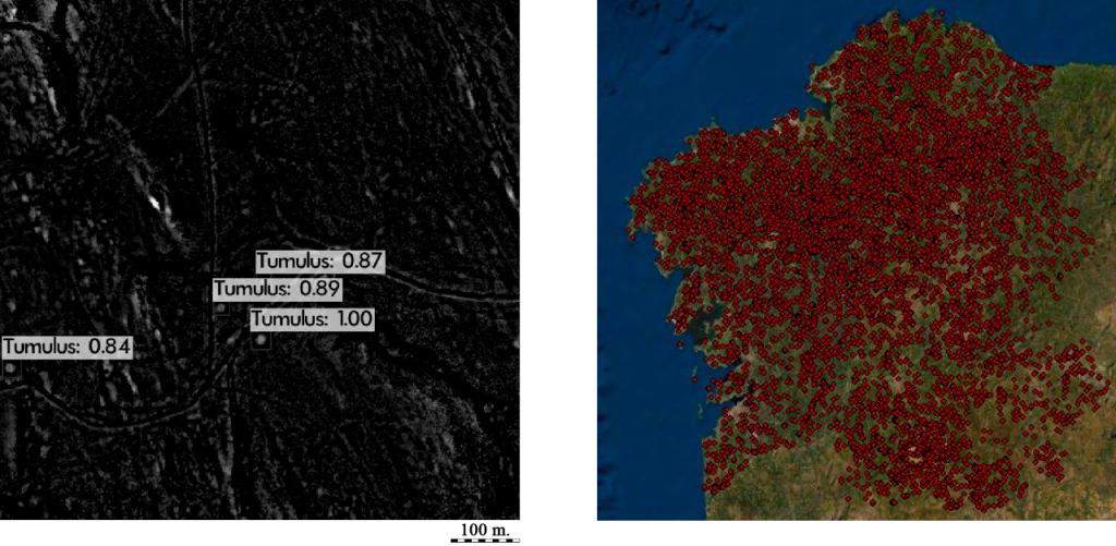 Figure 2. Tumuli detection using YOLOv3 algorithm in a part of the study area (left) and its location throughout Galicia (right).