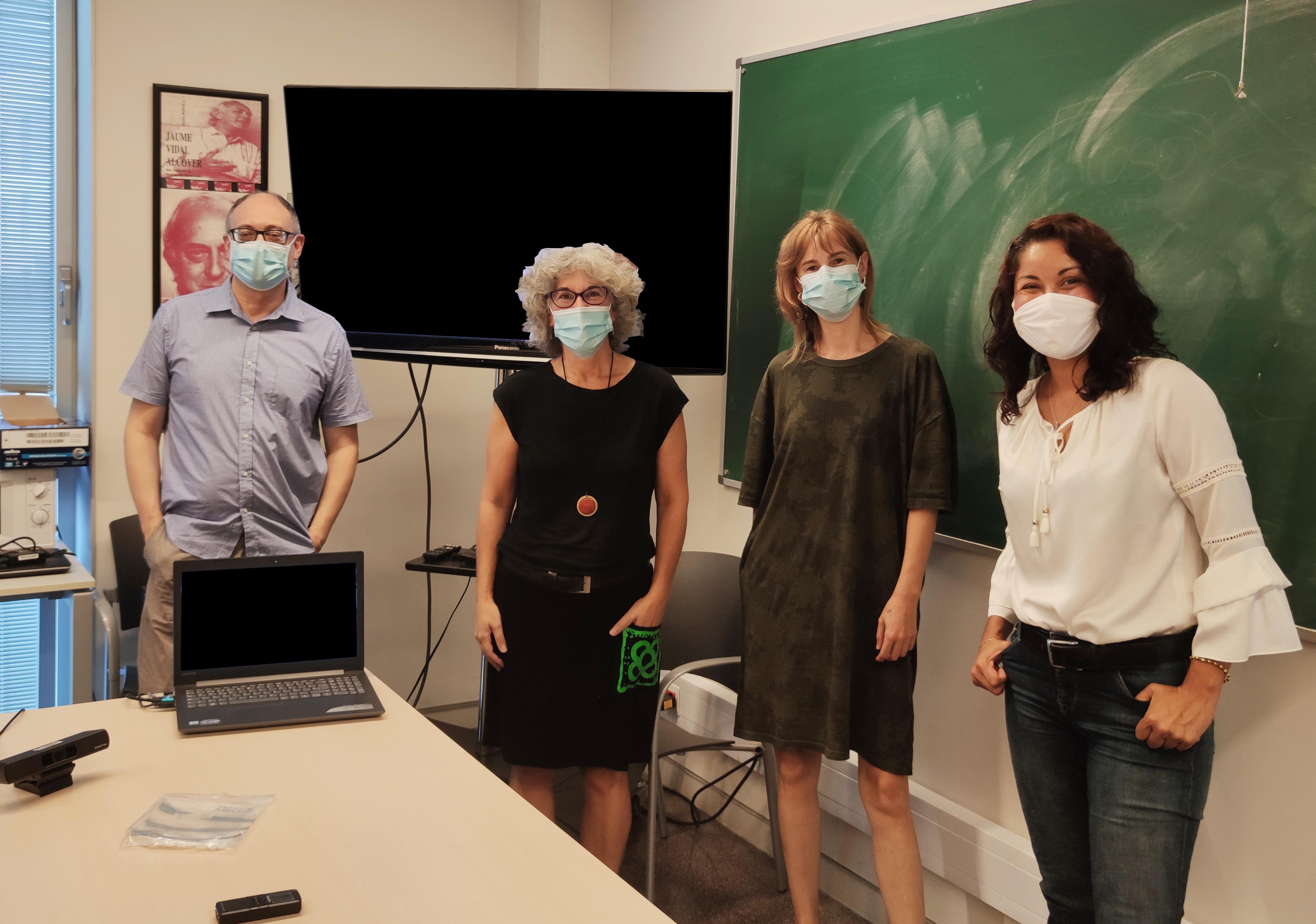 Imatge d'una de les sessions de formació per a l'elaboració del Protocol de l'ICAC. D'esquerra a dreta, Jesús Carruesco, Elena Apilánez, Maura Lerga i Lydia Gil. Foto: ICAC.